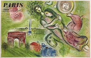 [Lithographic Poster]: Paris L'Opera le Plafond de Chagall (Romeo and Juliet)
