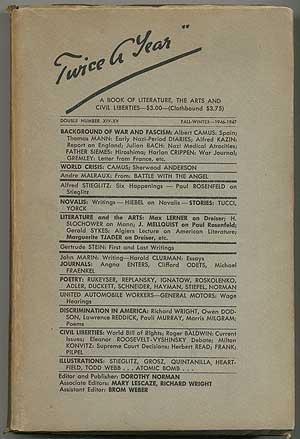 Twice A Year -- Volumes XIV-XV, Fall: STEIGLITZ, Alfred, Albert