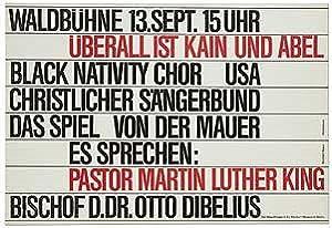 Poster]: Waldbuhne, 13.Sept.15 uhr. Uber ist Kain: KING, Dr. Martin
