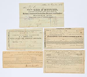 "Collection of Five Printed Receipts or ""cotton notes"" for Georgia companies from the 1880s"