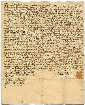 Manuscript Indenture Signed]: Bennet Bard and Anthony: BARD, Bennet