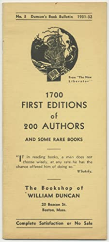 Duncan's Book Bulletin No. 3: 1700 First Editions of 200 Authors and Some Rare Books