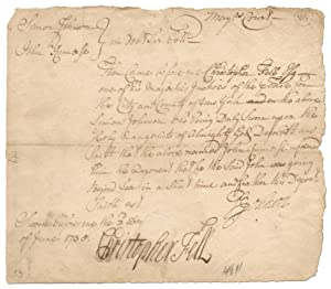 Holograph Document Signed by Christopher Fell and Simon Johnson, Aldermen of New York City, 1735