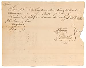Holograph Revolutionary War Document Paying Privateer Nathaniel Shaw 1000 Pounds. 1776