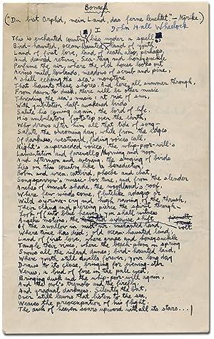 Poetry Manuscript Signed]: Bonac [Bonack]: WHEELOCK, John Hall