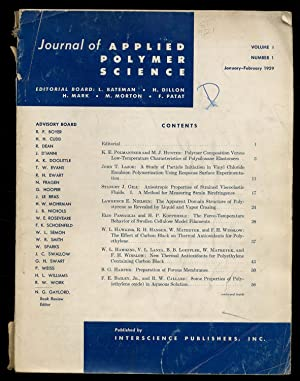 Journal of Applied Polymer Science: Volume I,: BATEMAN, L., H.