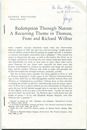 Redemption Through Nature: A Recurring Theme in Thoreau, Frost and Richard Wilbur