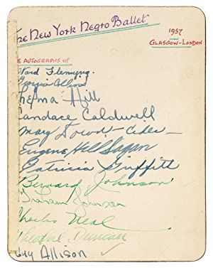 The New York Negro Ballet. Autographs of 19 Members on a card. 1957