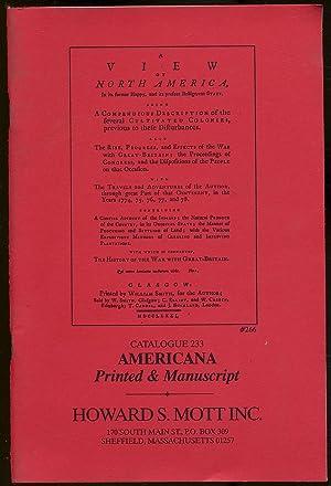 Howard S. Mott: Catalogue 233: Americana, Printed