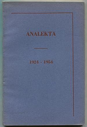 Analekta: 1924 - 1954 (An Anthology of: WILBUR, Richard, James