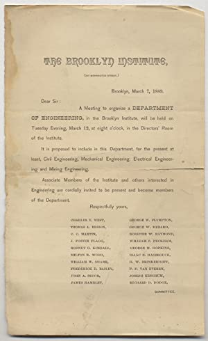[Printed Circular Letter]: The Brooklyn Institute . Dear Sir: A Meeting to organize a DEPARTMENT ...