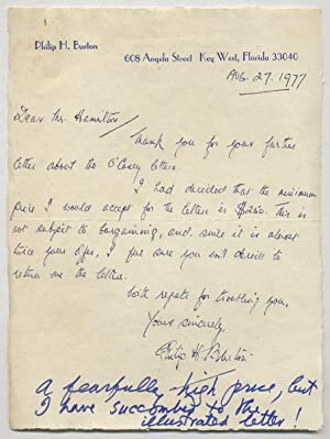 Autograph Letter Signed to Charles Hamilton
