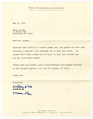 Letter from an Assistant to John Irving