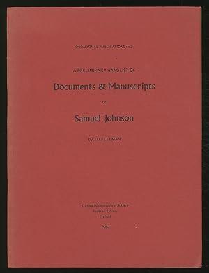 A Preliminary Handlist of Documents & Manuscripts: FLEEMAN, J.D. (JOHNSON,