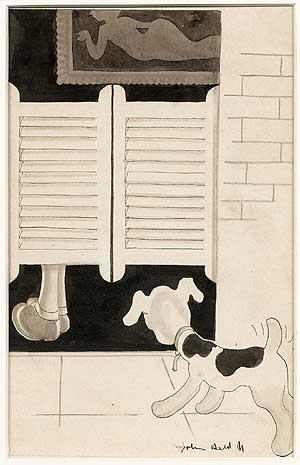 Original Art: Dog at Saloon Door: HELD, John, Jr.