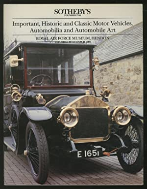 Sotheby's: Important, Historic and Classic Motor Vehicles,