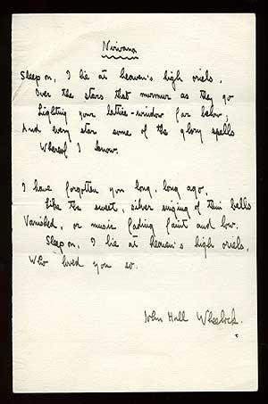Manuscript Poem: Nirvana: WHEELOCK, John Hall