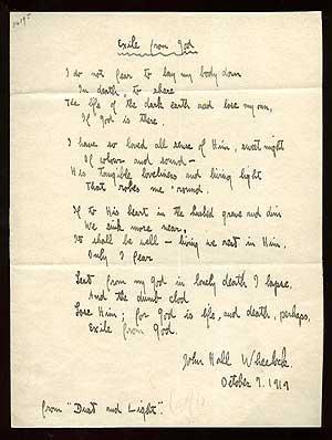 Manuscript Poem: Exile from God: WHEELOCK, John Hall