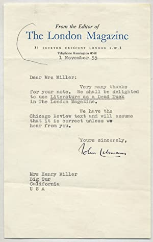 Typed Letter Signed from John Lehmann to Mrs. Henry Miller [Eve McClure]