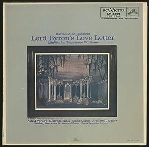 Vinyl Record]: Lord Byron's Love Letter: A: WILLIAMS, Tennessee) Raffaello