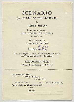 Prospectus Handbill]: Scenario (A Film With Sound): MILLER, Henry]