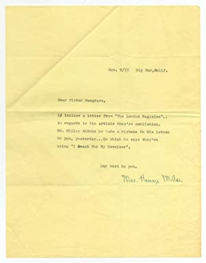 Typed Letter Signed from Mrs. Henry Miller to Victor Musgrave