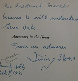 Adversary in the House (Inscribed to actor Frederick March). Inscribed in bright blue ink: