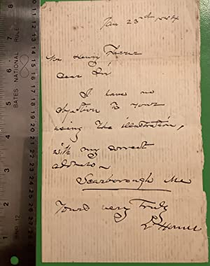 An Original Handwritten Letter in ink signed by Winslow Homer (ALS).: Homer, Winslow.