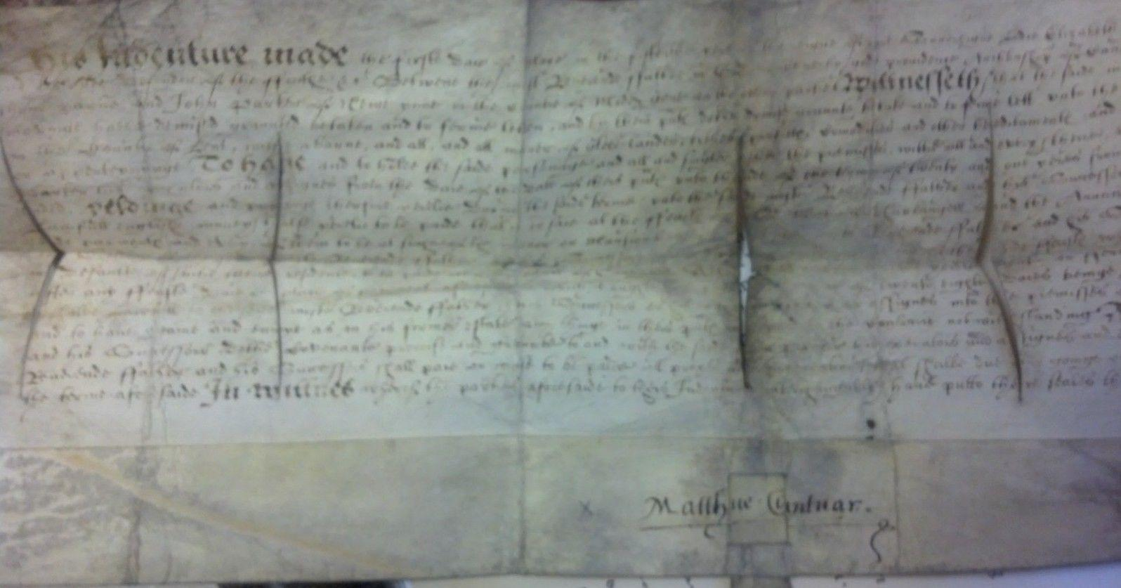 Matthew Parker 1573 Signed Document