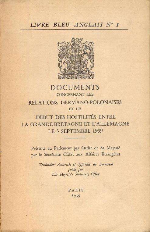 Livre Bleu Anglais N 1 Documents Concernant