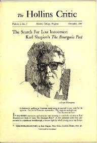 The Search for Lost Innocence: Karl Shapiro's: Rubin, Louis D.,