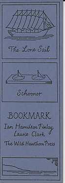 "Bookmark [""The Lone Sail / Schooner""]: Finlay, Ian Hamilton, with Laurie Clark"