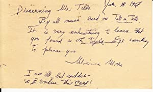 Autograph postcard, signed. [ALS]: Marianne Moore