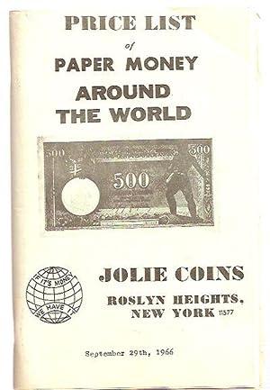 PRICE LIST OF PAPER MONEY AROUND THE: Jolie Coins
