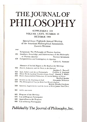 THE JOURNAL OF PHILOSOPHY SUPPLEMENT TO VOLUME: The Journal of