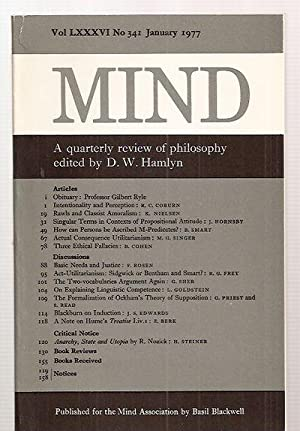 MIND: A QUARTERLY REVIEW OF PHILOSOPHY VOL: Mind) [Hamlyn, D.