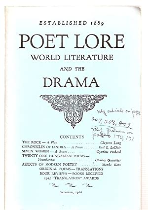 POET LORE: A NATIONAL QUARTERLY OF WORLD: Poet Lore) Brown,