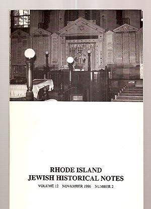 RHODE ISLAND JEWISH HISTORICAL NOTES NOVEMBER 1996: Rhode Island Jewish