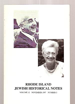RHODE ISLAND JEWISH HISTORICAL NOTES NOVEMBER 1997: Rhode Island Jewish