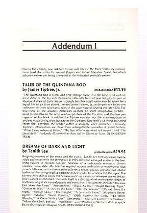 ADDENDUM I [FOR THE 1986-1987 CATALOG]: Arkham House)