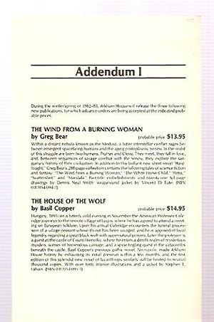 ADDENDUM I [FOR THE 1982 CATALOG]: Arkham House)