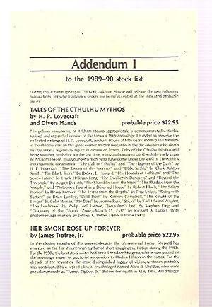 ADDENDUM I TO THE 1989-90 STOCK LIST: Arkham House)