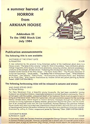 A SUMMER HARVEST OF.ADDENDUM III TO THE: Arkham House)