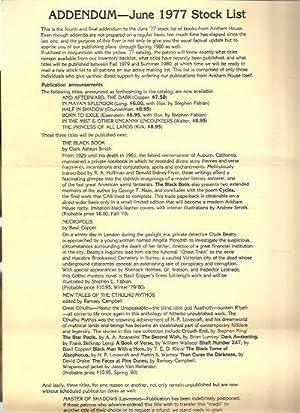 ADDENDUM - JUNE 1977 STOCK LIST: Arkham House)