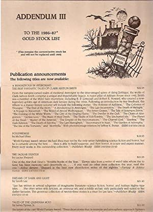 ADDENDUM III TO THE 1986-87* GOLD STOCK: Arkham House)
