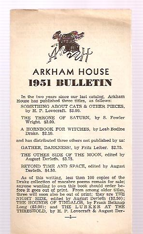 ARKHAM HOUSE 1951 BULLETIN: Arkham House)
