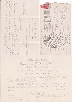John L. Nudd Nudd's School of Engraving Letterhead, Receipt for Three Month's Engraving Instructi...