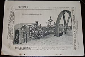1886 Illustrated Advertisement for Corliss Engines by W & J Yates Company