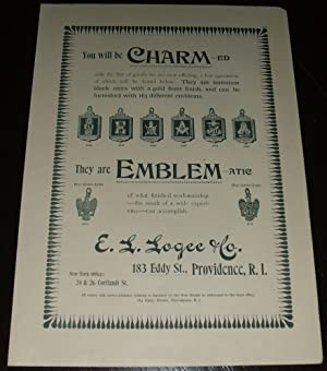 Original 1893 Illustrated Advertisement for E. L. Logee Company Emblems & Charms
