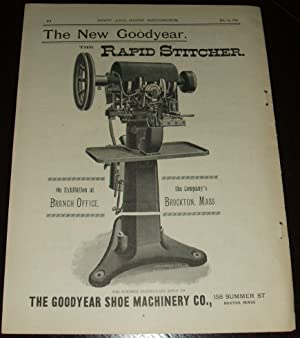 Original 1891 Full Page Illustrated Advertisement for the Goodyear Shoe Machinery Company